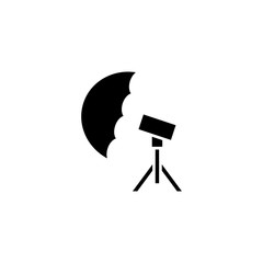 Photo umbrella black icon concept. Photo umbrella flat  vector symbol, sign, illustration.
