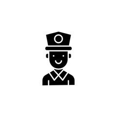Policeman black icon concept. Policeman flat  vector symbol, sign, illustration.
