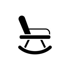 Rocking chair black icon concept. Rocking chair flat  vector symbol, sign, illustration.