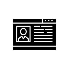 Social network profile black icon concept. Social network profile flat  vector symbol, sign, illustration.