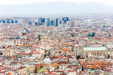 Naples panoramic view, in background the business directional center, Campania, Italy