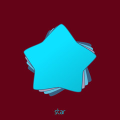 Simple bright turquoise star on a wine background. Vector