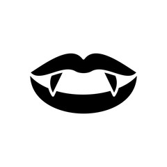 Vampire fangs black icon concept. Vampire fangs flat  vector symbol, sign, illustration.