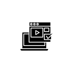 Viewing videos black icon concept. Viewing videos flat  vector symbol, sign, illustration.