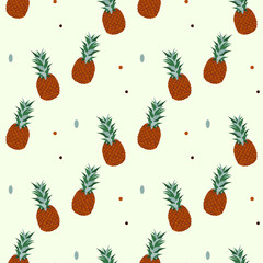 Vector seamless watercolor pattern with pineapples.