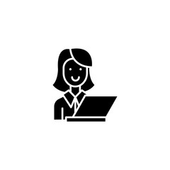 Woman in office with computer black icon concept. Woman in office with computer flat  vector symbol, sign, illustration.