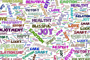 Joy, the positive emotion word cloud illustrations background abstract, hand drawn. Cover, vector, sketch & template.