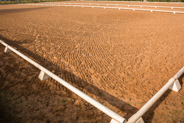 Equestrian Horse Arena outdoors sand clean prepared for show jumping dressage events