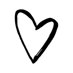 Black hand drawn heart on white background. Vector design element for Valentine's day.