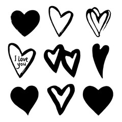 Hearts set. Element for design. Abstract black hearts. Vector illustration. Black hand drawn hearts on white background. Vector design element for Valentine's day.