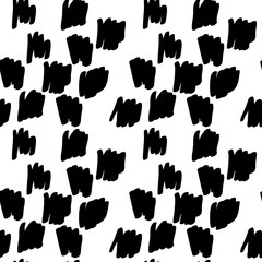 Vector hand drawn organic seamless pattern. Black doodles outline on white background.