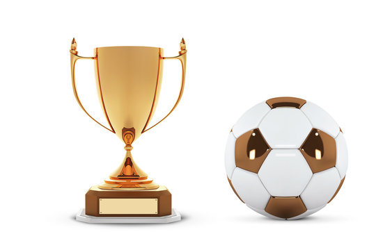 Realistic golden trophy Cup with gold ball. Winner Cup and football ball. Shiny golden 3d trophy awards on wooden shelf with soccer ball. Vector Illustration