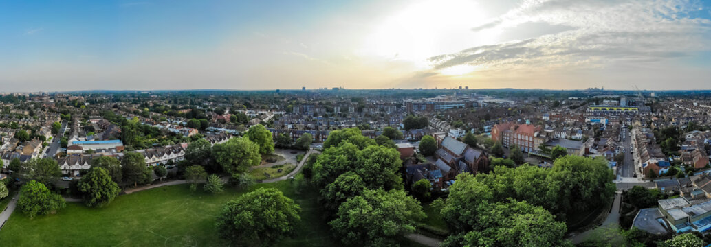 Aerial view of suburb of Chiswick in London
