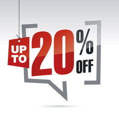 Sale up to 20 percent off isolated sticker icon