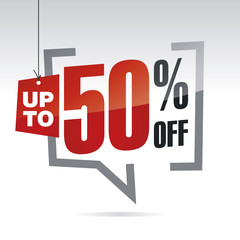Sale up to 50 percent off isolated sticker icon