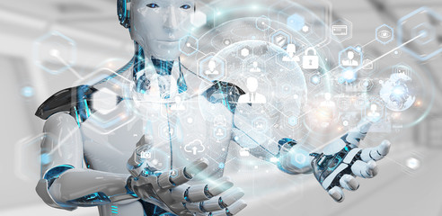 White woman robot using digital screen interface 3D rendering