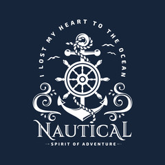Nautical emblem with anchor, steering wheel and waves.
