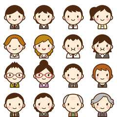 Isolated set of people all generation man & woman avatar expressions