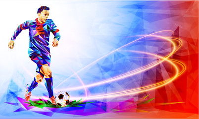 Soccer player the background of the stadium FIFA world cup. Welcome to Russia. Football player in Russia 2018. Fool colour vector illustration