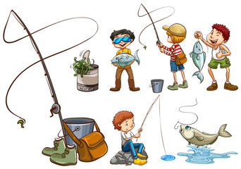 A Set of People Fishing