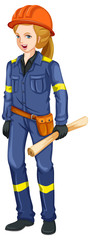 A Civil Engineer on White Background