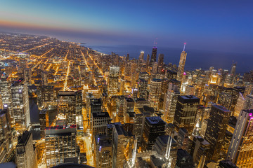Chicago evening downtown skyline