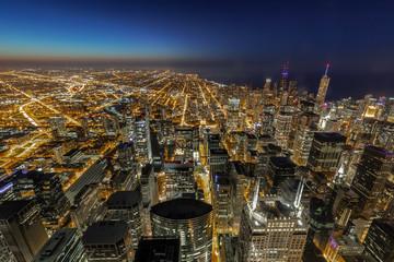 Fototapete - Chicago evening downtown skyline