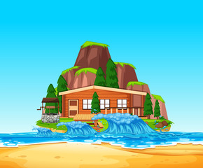 A Beach Front House Vector