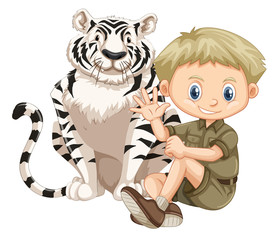 A Safari Boy and Tiger
