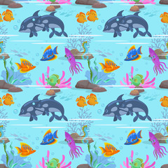 Sea fish seamless pattern