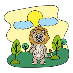 color funny lion cute animal in the landscape
