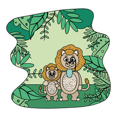 color lion animal with eyeglass and his son in the landscape