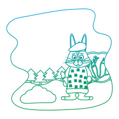 degraded line rabbit animal with clothes and carrot in the landscape