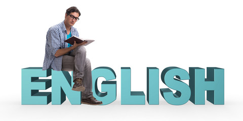 Young man in foreign language concept - English