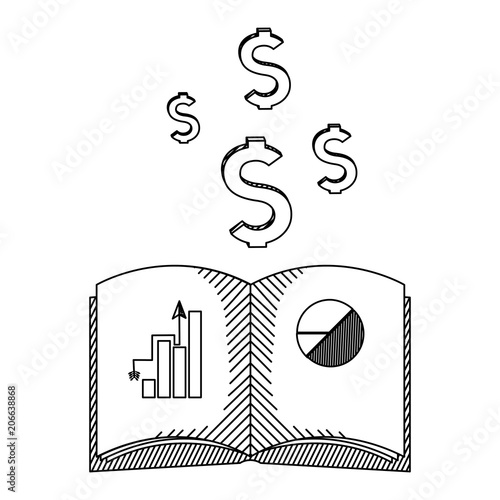 Line Book With Statistics Bar And Diagram Finance Stock Image And
