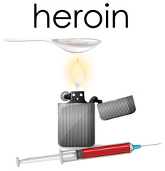 A Heroin on White Background