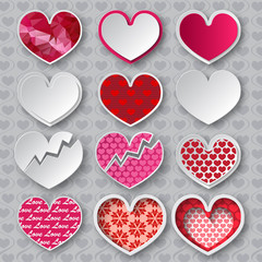 Vector hearts set. Paper hearts with different patterns
