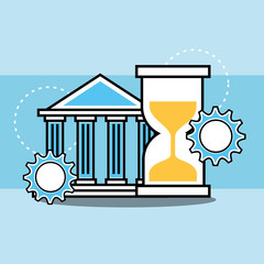 bank time hourglass analytics and investment vector illustration