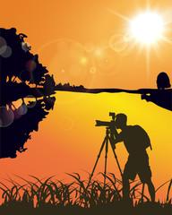 A Photographer, Lake, Sunset