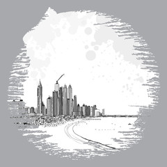 Hand drawn sketch of Marina Dubai UAE. City and beach coast with sand beaches at United Arab Emirates. Illustration. Vector.