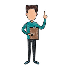Man with clipboard vector illustration graphic design
