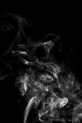 Movement of white smoke isolated on black background.