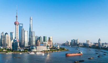 Wall Mural - beautiful shanghai cityscape in afternoon