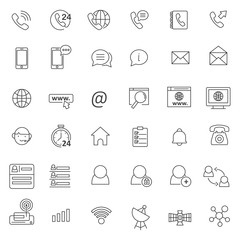 set of contact element icon with thin and simple style use for web and presentation pictogram asset, editable stroke