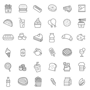 set of fast food line thin icon with modern and simple style, use for web or print, editable stroke.