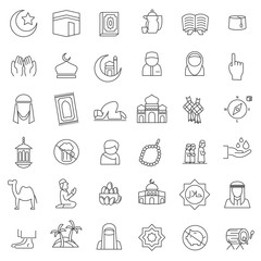 set of popular islamic icon with thin line style, use for islamic event or pictogram assets, ramahan kareem, ied mubarak,