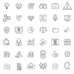 set of marketing icon with thin and simple style use for web and pictorgram presentation asset
