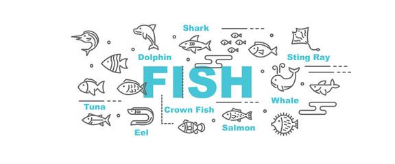 fish vector banner