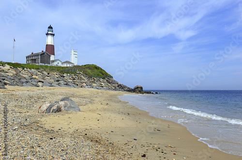 Coastal Scene With Montauk Lighthouse On Atlantic Ocean Long Island