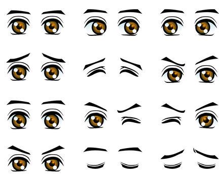 Vector boy eyes in different emotion